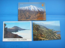 63)  Iles Canaries :  El Teide : Recto Verso :  3 Cartes - Tenerife