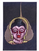 GREETINGS CARD - HAND COLOUR PAINTED LORD BUDDHA ON REAL PIPAL LEAF - People