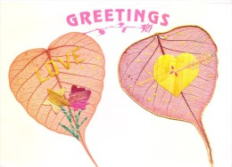 GREETINGS CARD - HAND CRAFTED WITH PADDY STRAW ON REAL PIPAL LEAF - People