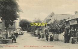 Cpa 27 Ménesqueville, La Route Près De L'Eglise, Animée, Bourrelier, Vieux Tacot..., écrite 1935 - France