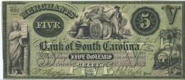 5  $  MERCHANTS BK OF SOUTH CAROLINA  1857    XF / SPL