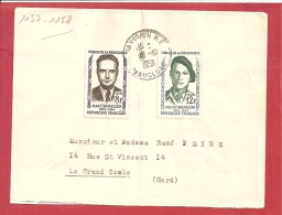 Y&TN°1157+1158 AVIGNON  Vers   LA GRANDE COMBE   Le   18 OCTOBRE1958 2 SCANS - Covers & Documents