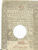 20 SHILL  CONNECTICUT   SHILL.   1780     PERFORED CANCELLED  VF  /  BB