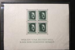 DR Deutsches Reich 1937 Block 7 Ungebraucht Mit Falz (oder 4x MiNr 646 ** Postfrisch) - Germania