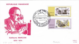 Rwanda 1974, Marconi 2 V.complete Set On Official Illustrated FDC- Nice Space Cover- AR-SKRILL PAY ONLY - Rwanda