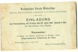 Technischer Verein Winterthur EINLADUNG Architekt Bridler Lungensanatorium 1897 - ZH Zürich