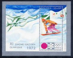 POLAND 1972 Winter Olympics  Block  MNH / ** . Michel Block 49 - 1944-.... Republic