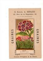 Carte Pub--75-- E KEILIG  A RENAUD-graines Potagères & De Fleurs--près De La Gare Saint-lazare--voir 2 Scans - Autres