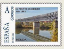 """Spain 2013– España """"Tu Sello"""". Sello Personalizado Del Puente De Hierro Del Ferrocarril De Mérida - Ponti"""