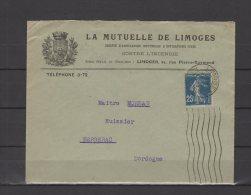 87 - Limoges - La Mutuelle De Limoges - 1924 - Marcophilie (Lettres)