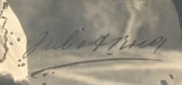 AUTOGRAFO DE JULIO ARGENTINO ROCA AÑO 1904 TBE SOBRE POSTAL SCINTILLANTE CON BRILLANTINAS RARISIME