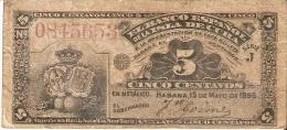 BILLETE DEL BANCO ESPAÑOL EN CUBA DE 5 CENTAVOS DEL AÑO 1896 (BANKNOTE) - Cuba