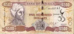 BILLETE DE JAMAICA DE 500 DOLLARS DEL AÑO 2012  (BANKNOTE)  CONMEMORATIVO - Jamaica