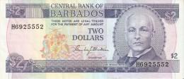 BILLETE DE BARBADOS DE 2 DOLLARS DEL AÑO 1986  (BANKNOTE) - Barbados