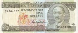 BILLETE DE BARBADOS DE 5 DOLLARS DEL AÑO 1975  (BANKNOTE) - Barbados