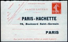 """1/2 Carte-lettre """"PARIS-HACHETTE"""" Neuve"""