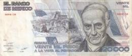 BILLETE DE MEXICO DE 20000 PESOS AÑO 1987 DE ANDRES QUINTANA   (BANKNOTE) - México