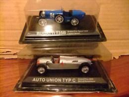 2 AUTOS - BUGATTI T35B - AUTO UNION TYP C - 2 LEYENDAS DEL AUTOMOVILISMO - Carros