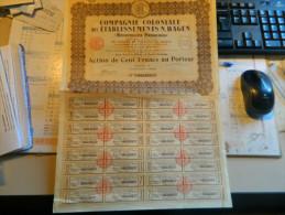 ACTION DE LA COMPAGNIE COLONIALE DES ETABLISSEMENTS N HAGEN (NOUVELLES HEBRIDES) 1928 - Shareholdings