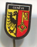 GENEVA - Switzerland, Blason, Coat Of Arms, Vintage Pin Badge - Cities