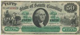 50 $ (!!) STATE  OF  SOUTH  CAROLINA   1872  UNC/ FdS