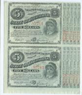 5 $  X 2  UNCUT SHEET OF 2 BONDS OF LOUISIANA  1886   UNC/FdS