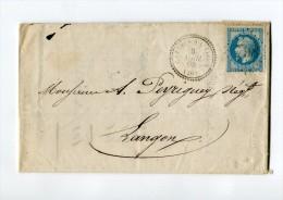 !!! CACHET PERLE DE CAZERE SUR L'ADOUR (LANDES) SUR LETTRE DE 1868 - 1849-1876: Période Classique