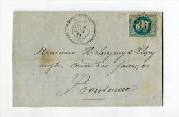 !!! GC 4351 YCHOUX (LANDES) SUR LETTRE DE 1871 - Marcophilie (Lettres)