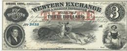 3  $  WESTERN EXCHANGE  1857  UNISSUED REMAINDER    UNC /  FdS