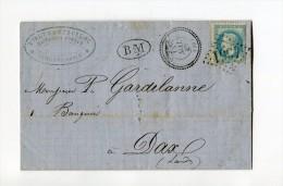 !!! CACHET PERLE D'YCHOUX (LANDES) SUR LETTRE DE 1868 - Marcophilie (Lettres)