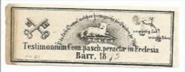 EH81 - Testimonium Com. Pasch. Peractae In Eclesia - 1879 - BARR Alsace Bas Rhin - - - Images Religieuses