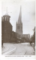 DERBYSHIRE - CHESTERFIELD CHURCH (ANIMATED STREET) RP  Db347 - Derbyshire