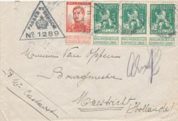 325/23 - SMOKKELPOST - Lettre TP Pellens , Dont 3 TP Carnet - Annulation FIELD POST OFFICE F.S. 1915 Et Censure - 1912 Pellens