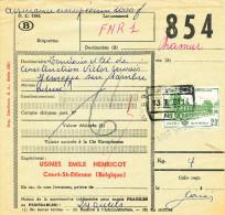326/23 - Formule De Colis ASSUREE Chemin De Fer COURT ST ETIENNE 1961 - Verso TP Assurance 2000 Francs - Chemins De Fer