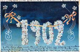 CPA Précurseur -BONNE ANNEE 1902 Dans Guirlande De Fleurs. Voyagée 31/12/1901 - New Year