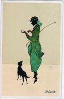 """AK SILHOUETTE  SCHATTEN SIGNIERT KARTE : M.G. MARTE GRAF """" FALTO -SILHOUETTEN """"  Mädchen Nr. 615.SICHTSKARTEN 1920 - Silhouettes"""