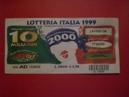 """BIGLIETTO LOTTERIA NAZIONALE ITALIA 1999 """" CARRAMBA CHE FORTUNA!!! SERIE AA - Lottery Tickets"""