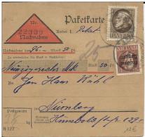 BAYERN - CARTE COLIS POSTAUX CONTRE REMBOURSEMENT NACHNAHME De REGENSBURG Pour NÜRNBERG