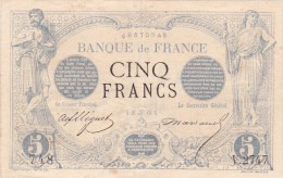 RARE !!! Billet De 5 Francs NOIR En SUP Du 27 Juin 1873 Cancer - V 2747 Alph 748 @ 2 Scans - N° Fayette : 1 - 1871-1952 Antichi Franchi Circolanti Nel XX Secolo