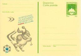 SLOVENIA 1992 5.00 T.  Junior World Ski Championships Postal Stationery Card, Unused  Michel P2 - Slovenia