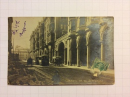 GENOVA - Via XX Settembre, Animata, Tram, Carrozza - Cartolina Fotografica FP V - Genova