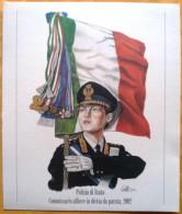 UNIFORMI STORICHE POLIZIA DI STATO - COMMISSARIO ALFIERE IN DIVISA DA PARATA, 2002 - Estampas & Grabados