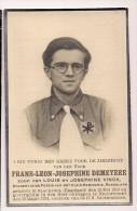 DP  Frans Leon Josephine DEMEYERE - Vinck - Blackpool (Engeland) - Nieuwpoort - Klein Seminarie Roeselare - Décès