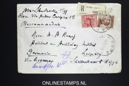 Italy: Registered Cover Roma To Leipzig Germany, Mixed Stamps, 1920, Changed Address - 1900-44 Vittorio Emanuele III