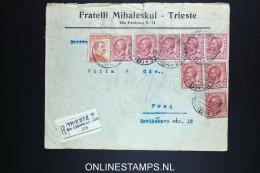 Italy: Cover  Trieste To Prag Registered, Very Nice Franking 1920 - 1900-44 Vittorio Emanuele III