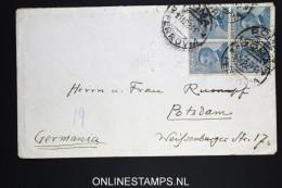 Italy: Cover Roma To Potsdam Berlin  Germany, 1922    4-block  Sa 83 - 1900-44 Vittorio Emanuele III