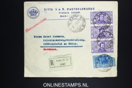 Italy: Registered Company Cover Bari To Ludwigshafen Germany Mixed Stamps 1932 1,25 Lire Damaged - 1900-44 Vittorio Emanuele III