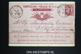 Italy: Cartolina Vaglia Used 1892