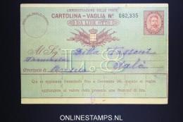 Italy: Cartolina Vaglia Used 1893