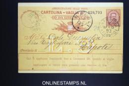 Italy: Cartolina Vaglia Used 1893 - 1878-00 Umberto I